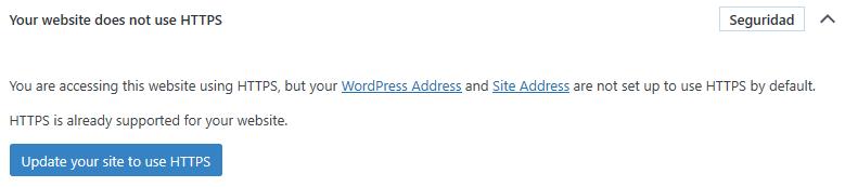 Opción en Salud del Sitio en la que se activa el botón de Actualizar el sitio a HTTPS